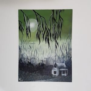 Acrylic Painting Spooky Haunted House 16x12 inches
